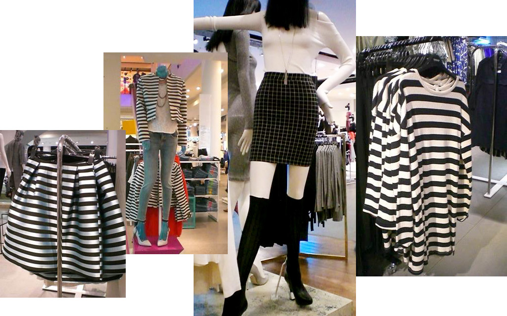 Stripe and skirt trends